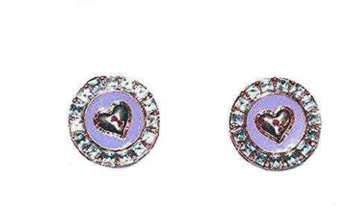 Juicy Couture Goldtone Heart Purple Enamel Faux Crystal Stud