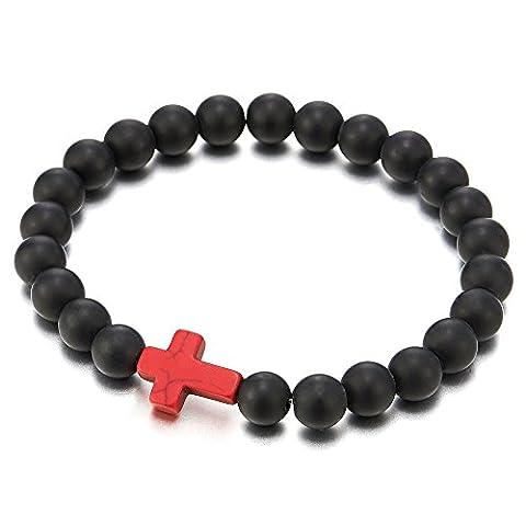 Mens Women Stretchable Matt Black Onyx Beads Bracelet with Charm of Red Cross, Prayer Mala - Cross Prayer Box Charm