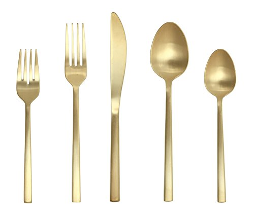 Fortessa Arezzo 18/10 Stainless Steel Flatware, 5 Piece Place Setting, Service for 1, Brushed Gold - 5 piece set includes: table fork, salad/dessert fork, table knife, dessert/soup spoon, coffee/ teaspoon; features heft, weight and balance in hand Durable 18/10 stainless steel with PVD finish; PVD: titanium compound adhered to surface by a vacuum process creates a permanent bond; no color fading Arezzo brushed gold: square handles and stylishly modern profile; matte brushed gold finish; bold statement for everyday, special occasions; full size, bold weight - kitchen-tabletop, kitchen-dining-room, flatware - 41CQPKQnBeL -