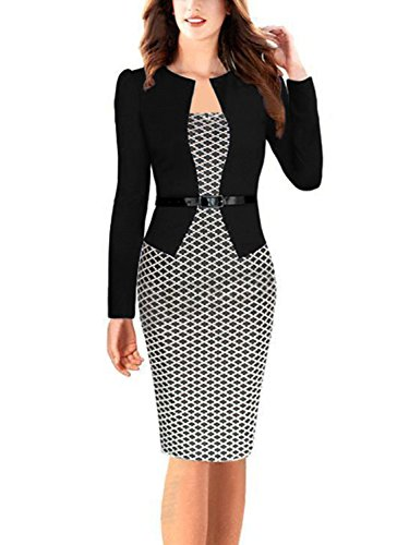 Babyonlinedress Women's Colorblock Slim Bodycon Business Pencil Dress (Black+Houndstoothl,M)