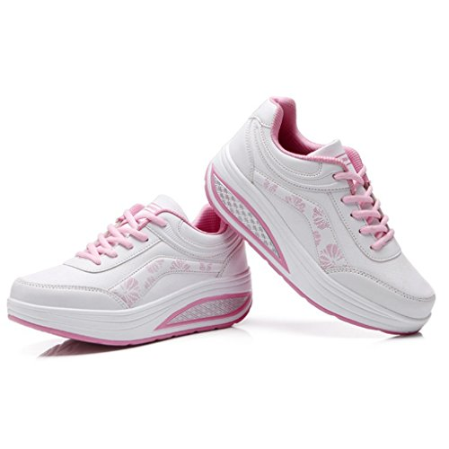 Cybling Fashion Outdoor Womens Athletic Exercise Walking Shoes Sports Running Wedge Sneakers Whitepink