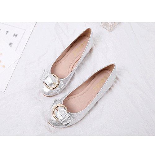 T-july Mujeres Ballet Flats Classic Slip Comfort Slip On Zapatos De Vestir De Plata