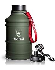 High Pulse® XXL waterkan, van roestvrij staal, met drinkopzetstuk, afsluitdop (2,2 l), lekvrije drinkfles voor je fitness- en krachttraining, 100% BPA-vrij en geschikt voor koolzuur