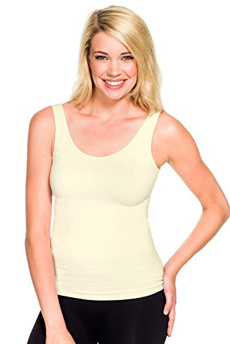 Skinny Tee Top - Skinny Tees Women's Basic Wide Strap Cami, Ivory, One Size