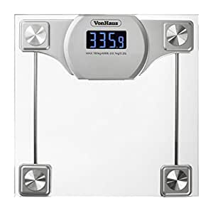 Vonhaus digital bathroom scale glass silver body weight scales with large lcd for Large capacity bathroom scale