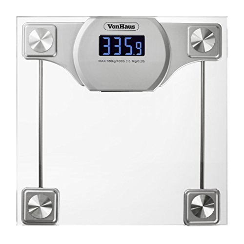 Vonhaus Digital Bathroom Scale Glass Silver Body Weight Scale With Large Lcd Display 400 Lbs
