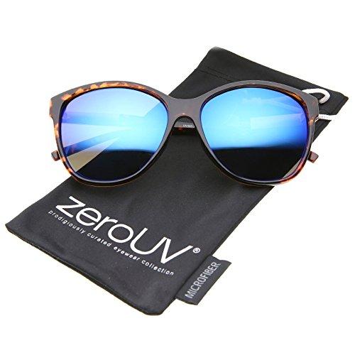 zeroUV - Womens Fashion Metal Temple Colored Mirror Oversize Cat Eye Sunglasses 59mm (Tortoise-Gold / Blue - Tortoise Colored Glasses