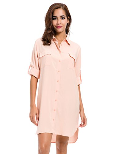 MOQUEEN Womens Button Down Boyfriend Shirt Dress Long Sleeve Basic Blouse Tunic ()