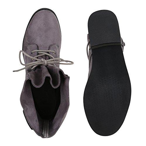 Stiefelparadies Damen Schnürstiefeletten Gefütterte Stiefel Leder-Optik Stiefeletten Animal Print Velours Boots Blockabsatz Schuhe Flandell Grau Holzoptikabsatz