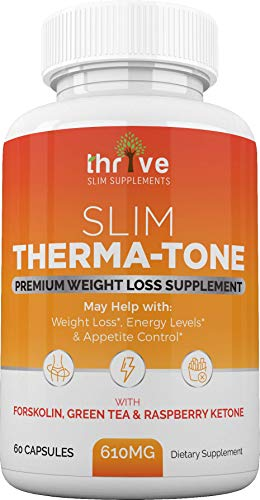 Natural Forskolin, Green Tea and Raspberry Keytone for Men and Women by Thrive Slim Therma-Tone Thermogenic - 60 - 60 Capsules Egcg