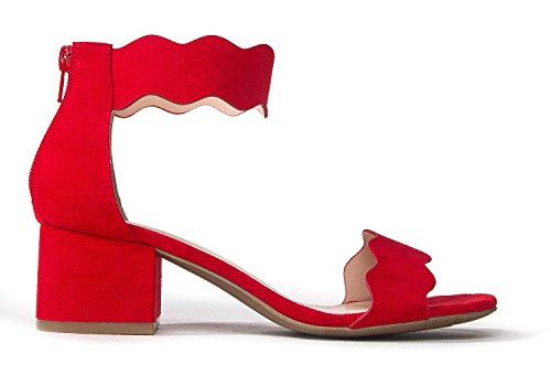 Kitten Heel Low Shoe Mimi Sandal Suede Toe by Open Ankle Adams Trendy Red Heel Strap J Block Formal Suede wAq68vWx