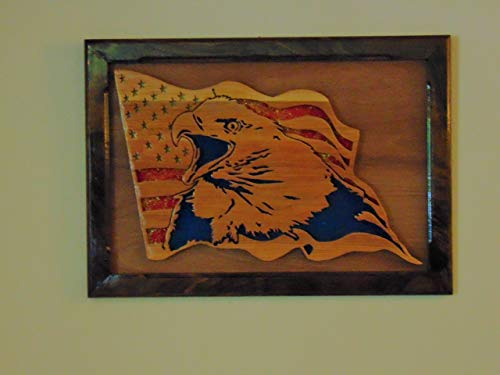 Scroll Saw American Eagle with Flag -