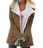 AlvaQ Womens Winter Warm Lapel Sherpa Fleece Coat Faux Fur Inside Down Denim Jacket Outwear