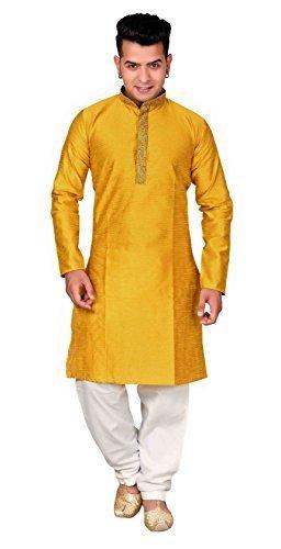 e1188f3d1 Desi Sarees Men's Indian Mustard Sherwani Kurta with Shalwar Kameez for  Bollywood Theme Men Party 832