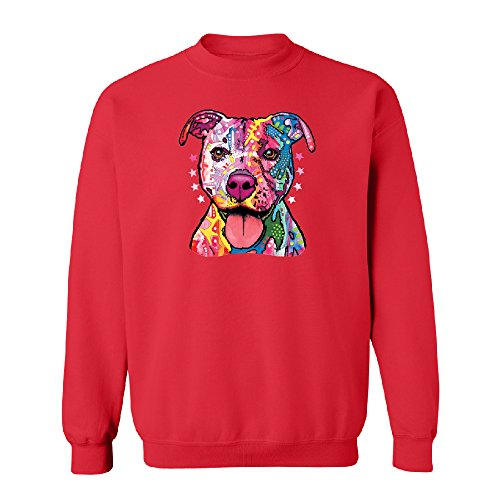 - Neon Pitbull Florecent Dog Unisex Crewneck Cool Colored Pit Bull Face Sweater Red Large