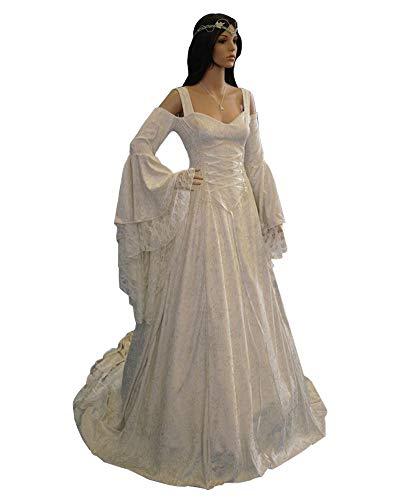 LY-VV Womens Plus Size Victorian Renaissance Medieval Costume Off Shoulder Floor Length Lolita Dress White -