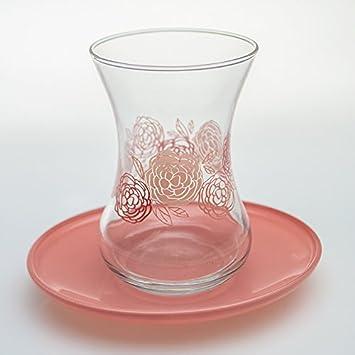 mit Untertasse Teeglas Cay Bardagi Türkische Teegläser Set 12 tlg