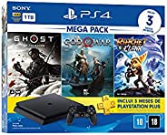 Console PlayStation 4 Mega Pack 18 - Ghost of Tsushima, God of War e Ratchet & C
