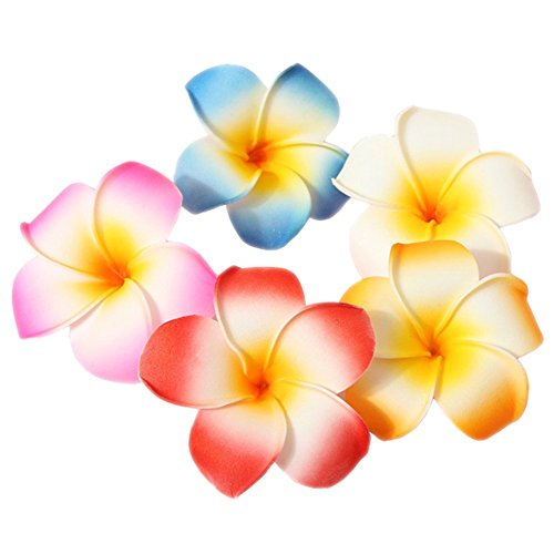 HugeStore 10 Pcs 5cm Hawaii Hawaiian Plumeria Hair Clips Beach Flower Headpieces for Wedding Party