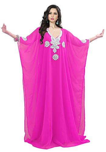 KoC Women's Kaftan Maxi Dress Farasha Caftan KFTNSILVER-Pink ()