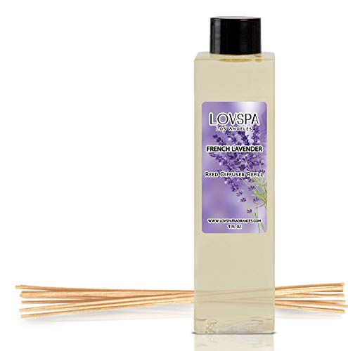 LOVSPA French Lavender Reed Diffuser Oil Refill with Replacement Reed Sticks | Scent for Kitchen or Bathroom, 4 oz | Made in The USA (Reed Replacement Set)