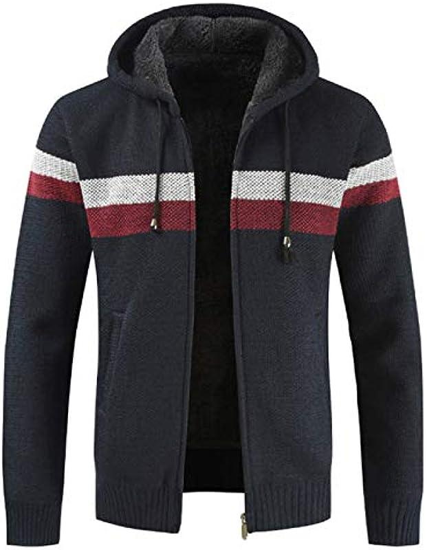 UNJ Winterpullover Mantel Männer Dicke warme Kapuze Strickjacke Pullover Männer Striped Liner Zipper Fleece Mäntel Männer: Sport & Freizeit