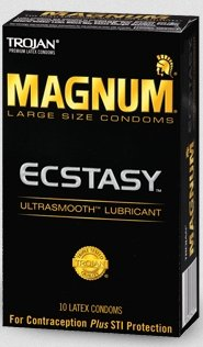 Trojan Condom Magnum Ecstasy Ultrasmooth Lubricated 10Pc - 2 Packs