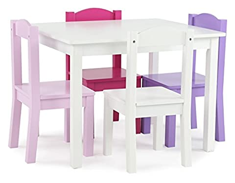 Tot Tutors Kids' Wood Table and 4 Chairs Set, White/Pink & Purple (Friends Collection)