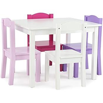 Amazon.com: Tot Tutors Kids Plastic Table and 4 Chairs Set, Vibrant ...