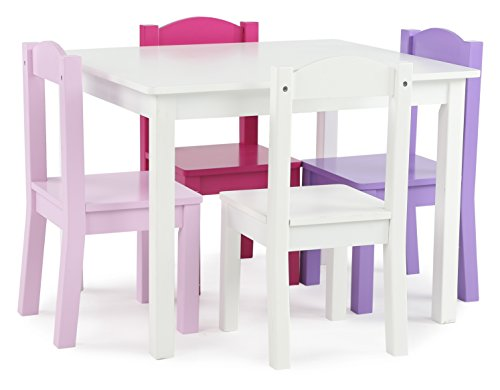 Tot Tutors Kids' Wood Table and 4 Chairs Set, White/Pink & Purple (Friends Collection) by Tot Tutors