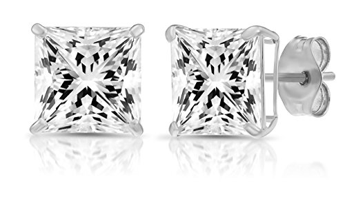 14k White Gold 7mm Solitaire Square Cubic Zirconia Princess-cut Large CZ Stud Earrings, - Square Settings Gold