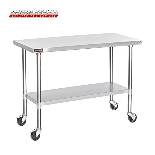 "DuraSteel Stainless Steel Work Table 24"" x 60"" x 34"" Height w/ 4 Caster Wheels - Food Prep Commercial Grade Worktable - NSF Certified - Good for Restaurant, Business, Warehouse, Home, Kitchen, Garage from DuraSteel"