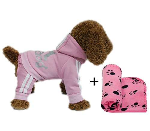 YAAGLE Pet Warm Sweater Hoodie Coat Sweatshirt Clothes Costume Apparel for Dog Puppy Cat,Pink+Blanket