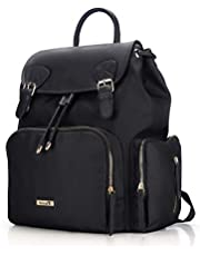 Diaper Backpack, Hafmall Waterproof Baby Diaper Bag, Stylish Travel Nappy Bag with Stroller Straps
