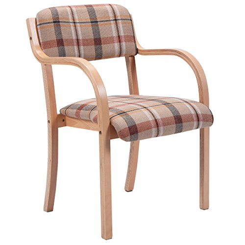 Costway Modern Bentwood Arm Dining Chair Accent Chair Upholstered Home Room Furniture (1, Red)