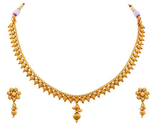 968aadff7e4e0 JFL - Traditional Ethnic One Gram Gold Plated Delicate Designer Necklace  Set for Women & Girls