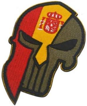 Parche bordado con diseño de calavera y bandera de España con lazos y gancho: Amazon.es: Juguetes y juegos