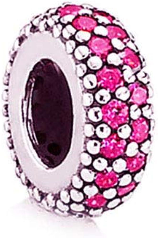 MiniJewelry Women Spacer Bead Charm for Bracelets Birthday Birthstones Cubic Zirconia Pave Inspiration Sterling Silver Charm