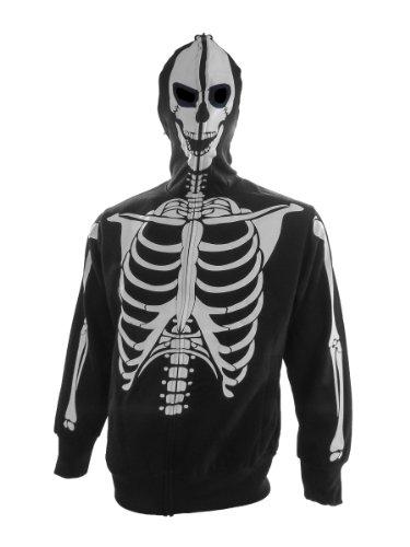 [Zip Hoodie: Glow in The Dark Skeleton Costume Top (Front/Back) Size S] (Glow In The Dark Skeleton Costumes)