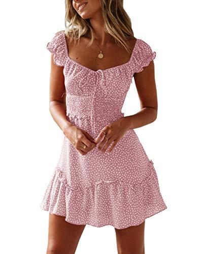 Yobecho Womens Summer Ruffle Sleeve Sweetheart Neckline Printing Dress Mini Dress Pink