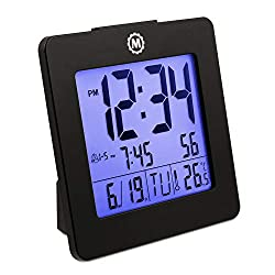 Marathon CL030050BK Digital Alarm Clock with Day, Date, Temperature and Backlight. Color-Black