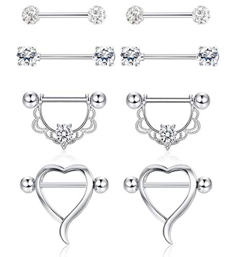(Finrezio 4 Pairs 14G Stainless Steel Nipple Tongue Ring Heart Shape CZ Barbell Nipplering for Women Girls Body Piercing Jewelry)