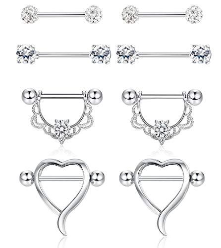 Finrezio 4 Pairs 14G Stainless Steel Nipple Tongue Ring Heart Shape CZ Barbell Nipplering for Women Girls Body Piercing Jewelry