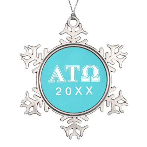 Vehfa Decorations Personalized Ornament Alpha Tau Omega White and Blue Letters Snowflake Pewter Christmas Ornament