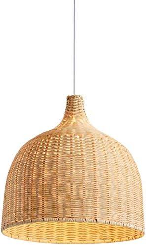 FYH Lámpara Colgante de la lámpara de bambú Tejidas a Mano, diseño Creativo Personalizado Colgante de Pantalla de la lámpara de Mimbre para Comedor Dormitorio lámparas de araña de Hierro,Beige