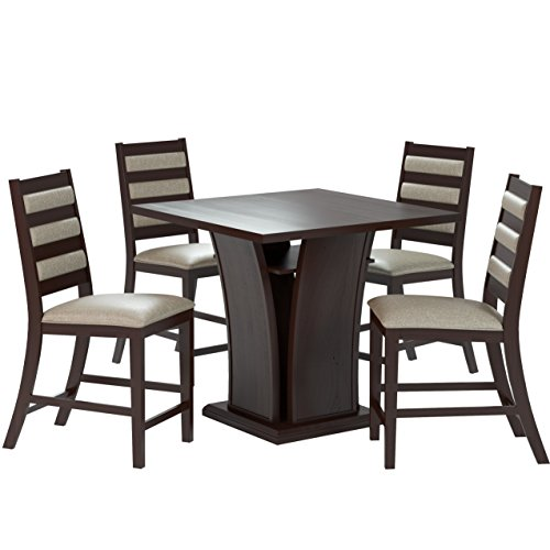 """CorLiving DWP-390-Z3 Bistro 5-Piece 36"""" Counter Height Cappuccino Wood Dining Set with Storage Shelf- Platinum Sage Seats"""