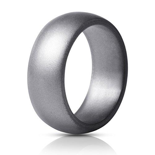 4 Rings Black, Dark Grey, Olive Green, Gunmetal, 9.5-10 19.8mm ThunderFit Silicone Wedding Rings for Men