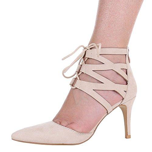 Ital-Design - Zapatos de Tacón Mujer Beige - beige