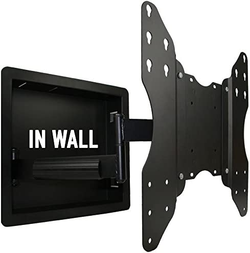 In Wall Recessed Full Motion TV Mount with Zero Clearance for 32 to 55 Inch TVs LCD, LED, or Plasma – Extends 19 Inches