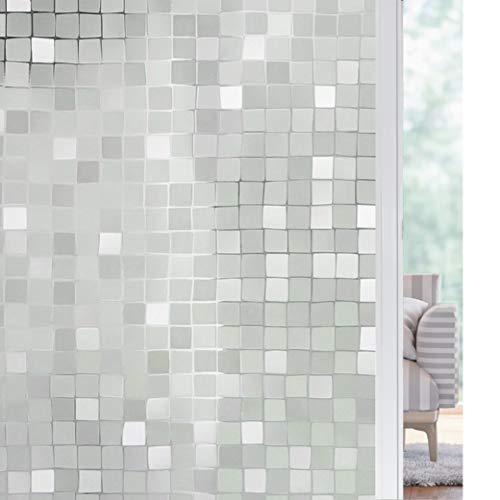 solardiamond 3D Window Film Big Mosaic Privacy Window Film Decorative Film Static Cling Glass Film No Glue Anti-UV Window Sticker Non Adhesive for Home Kitchen Office | 23.6in by 78.7in (60 X 200cm)